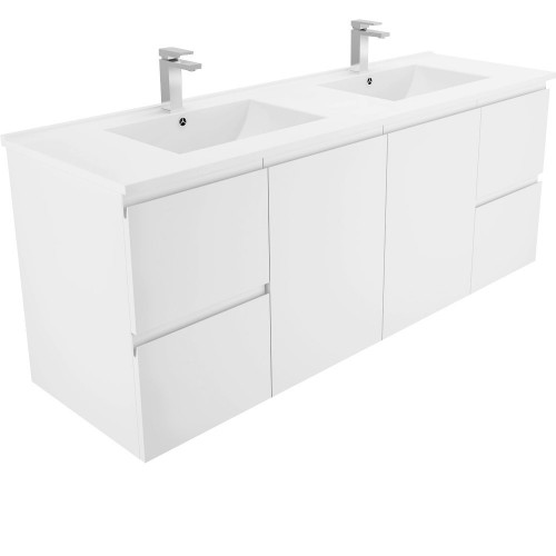 DOLCE 1500, double bowl + Fingerpull Wall-hung