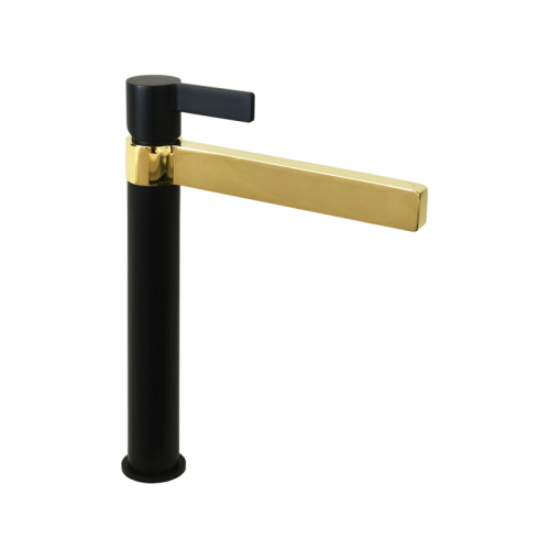 Jamie J Martini Luxe Tower Basin Mixer Matte Black/Polished Gold