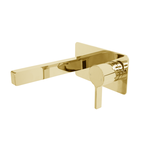Jamie J Martini Ritz Wall Mixer Basin Set Polished Gold