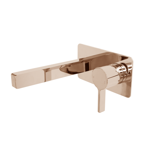 Jamie J Martini Ritz Wall Mixer Basin Set Polished Rose Gold