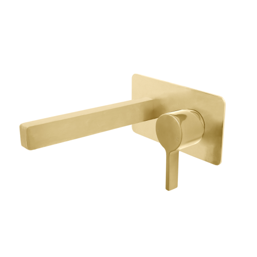 Jamie J Martini Ritz Wall Mixer Basin Set Brushed Gold