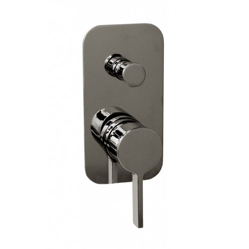 Jamie J Martini Ritz Bath/Shower Wall Mixer with Diverter Polished Black Sapphire