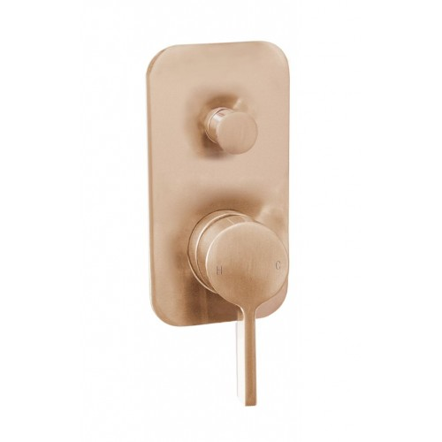 Jamie J Martini Ritz Bath/Shower Wall Mixer with Diverter Brushed Rose Gold