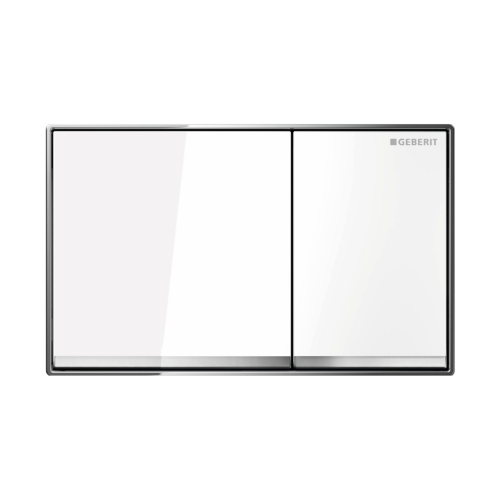 Sigma 60 Dual Flush Button Plate/White Glass