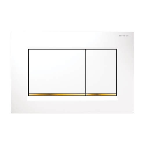 Geberit Sigma 30 Dual Flush Plate/White/Gold Trim