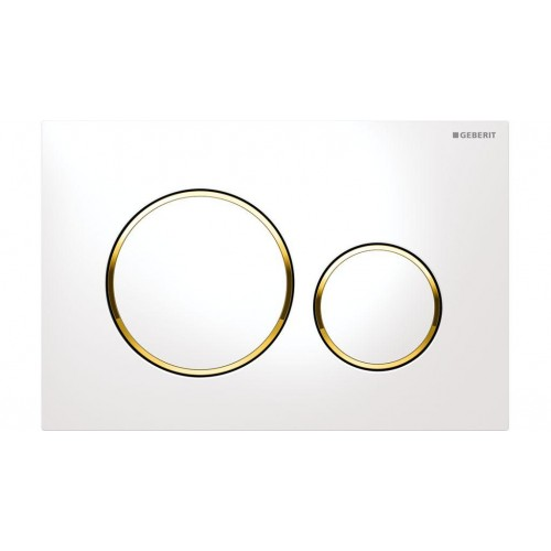 Geberit Sigma 20 Dual Flush Plate White/Gold Trim