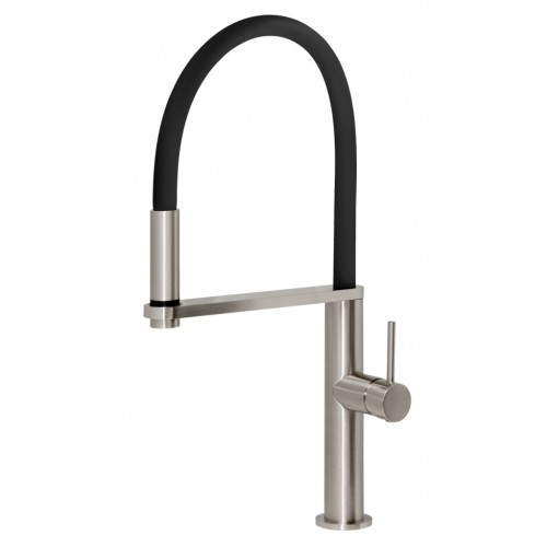 Phoenix Blix Flexible Hose Sink Mixer/Brushed Nickel (Round)