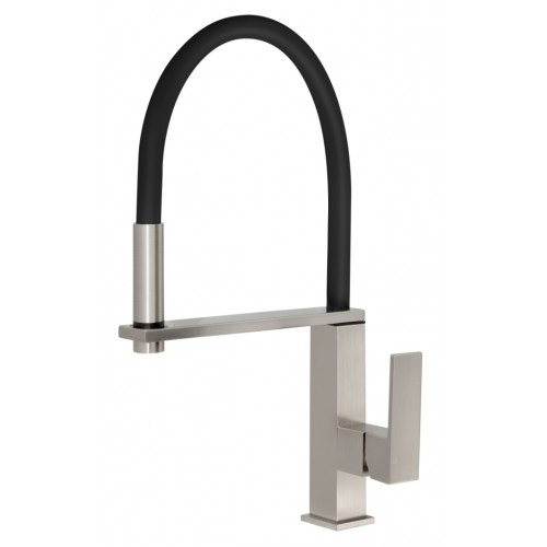Phoenix Fezz Flexible Hose Sink Mixer/Brushed Nickel (Square)