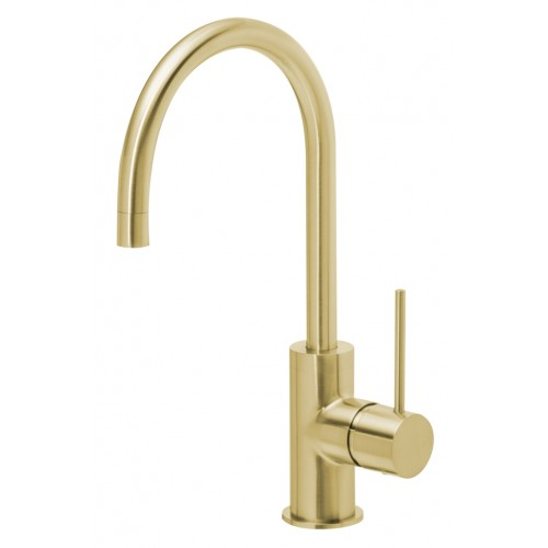 Phoenix Vivid Slimline Side Lever Sink Mixer 160MM Gooseneck/Brushed Gold