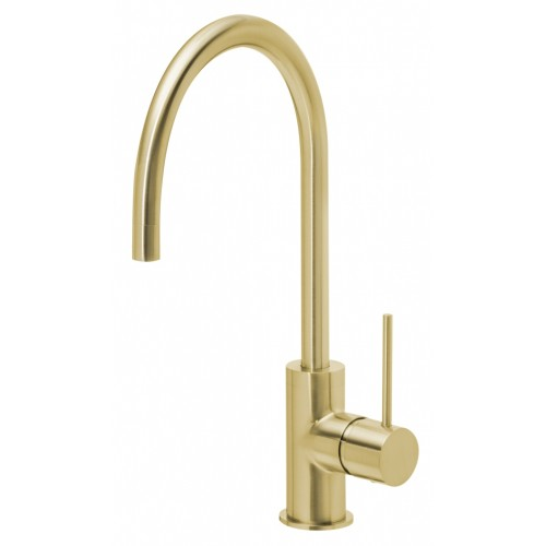 Phoenix Vivid Slimline Side Lever Sink Mixer 220mm Goose Neck/Brushed Gold