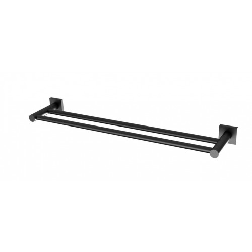 Phoenix Radii 600mm Double Towel Rail Square Plate/Matte Black