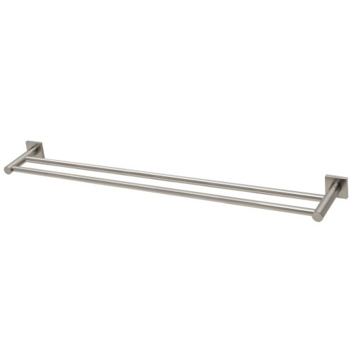 Phoenix Radii Double Towel Rail 800MM Square Plate/Brushed Nickel