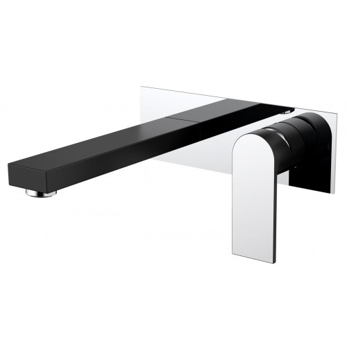 Kiato Wall Basin Mixer Black/Chrome