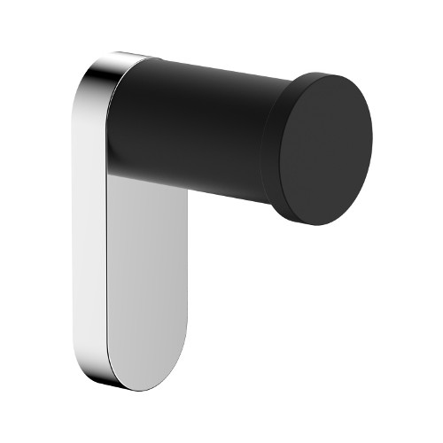 Akemi Robe Hook Matte Black/Chrome