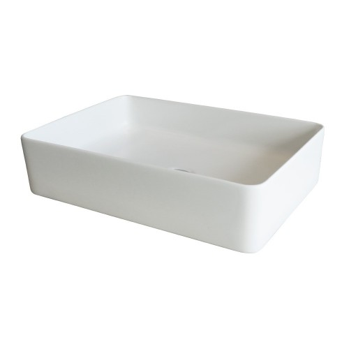 Xoni 500 Thin Rectangular Above Counter Basin - Matte White