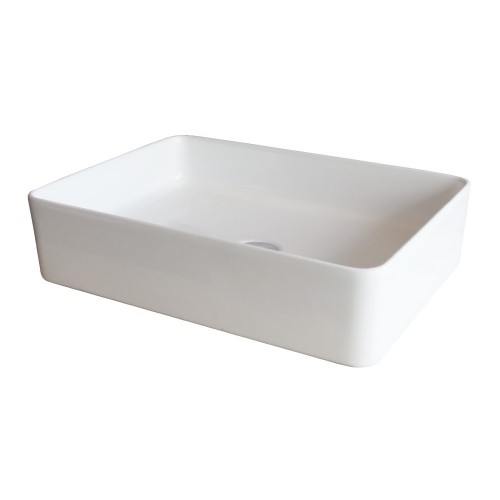 Xoni 500x350 Thin Rectangular Above Counter Basin Gloss White