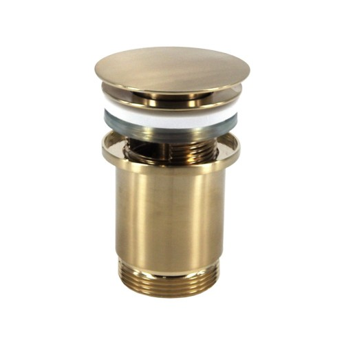Push operated Pop-Up Waste with overflow - Brushed Brass PVD