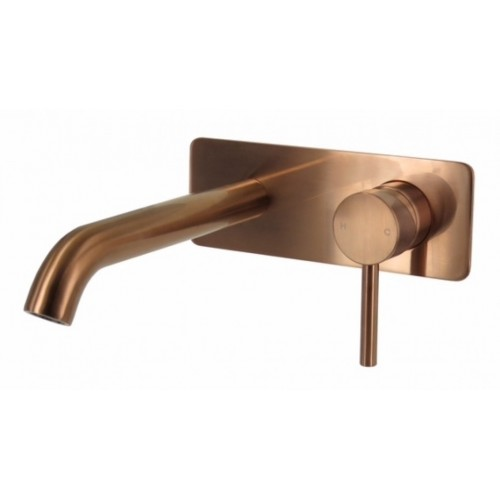 Arcisan Axus Brushed Rose Gold PVD Pin Lever Wall Mount Basin Mixer - 220mm spout