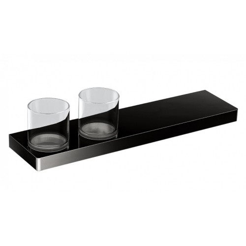 Arcisan Eneo Matte Black Shelf with Double Glass holder 40cm