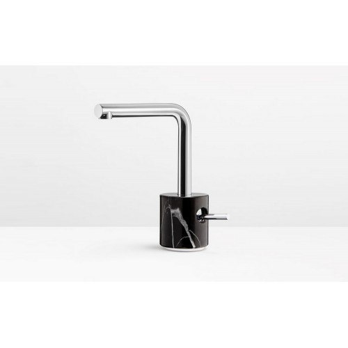 Marmo Basin Mixer Chrome with Black Marquina