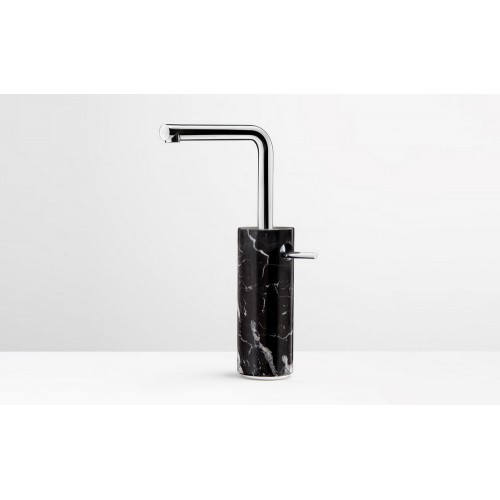 Marmo Tall Basin Mixer Chrome with Black Marquina