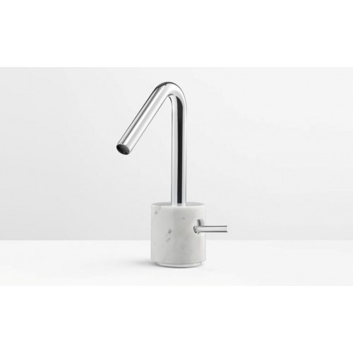 Marmo Basin Mixer Chrome with White Carrara