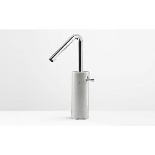 Marmo Tall Basin Mixer Chrome with White Carrara