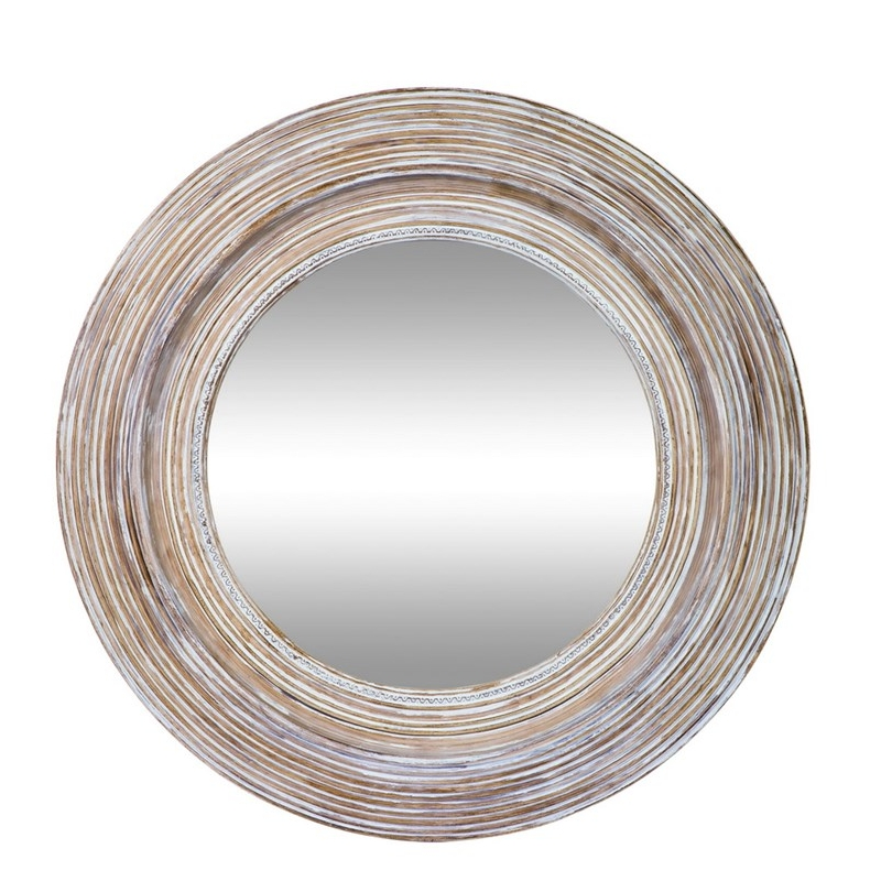 Clay and White Round Wall Mirror