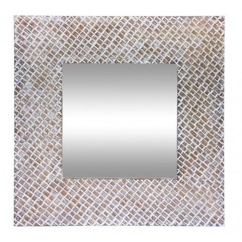 Clay and White Square Wall Mirror