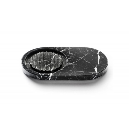 Marmo Oval Soap Dish Black Marquina