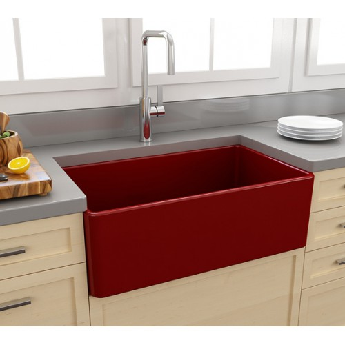 Paco Jaanson Casa 750mm Ceramic Kitchen Sink/Gloss Red
