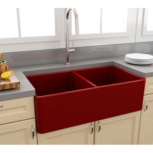 Paco Jaanson Casa 850mm Ceramic Kitchen Sink/Gloss Red