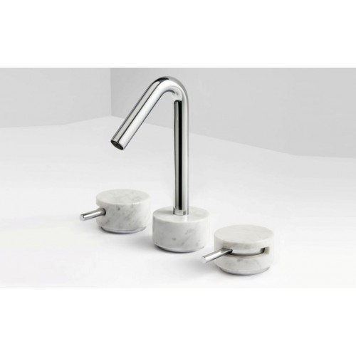Paco Jaanson Marmo 3 Hole Basin Set/Chrome with White Carrara