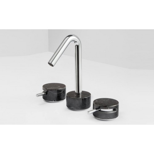 Paco Jaanson Marmo 3 Hole Basin Set/Chrome with Black Marquina