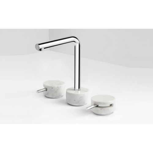 Paco Jaanson Marmo Basin Set/Chrome with White Carrara