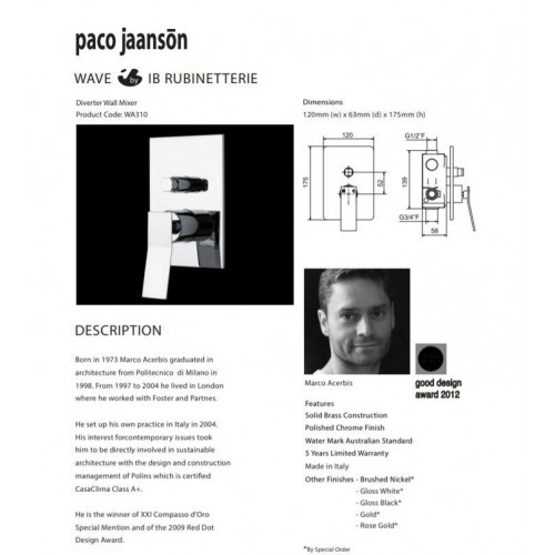 Paco Jaanson Wave Diverter Wall Mixer