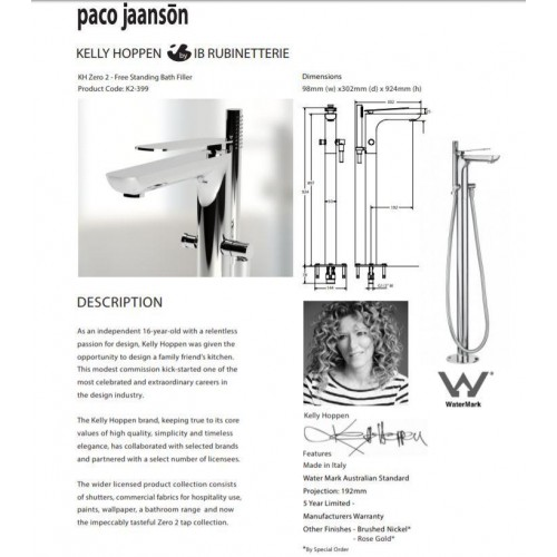 Paco Jaanson Kelly Hoppen Zero 2 Free Standing Bath Filler With Shower