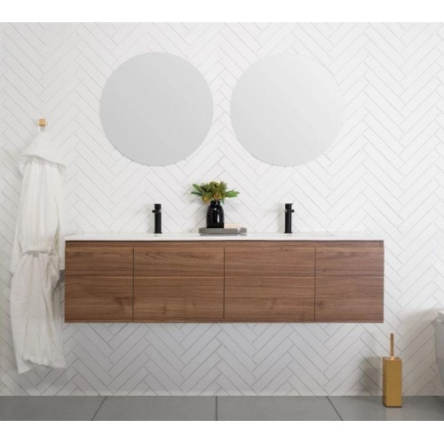 ADP Glacier Slim 1500mm Double Bowl Ceramic Wall Hung Vanity