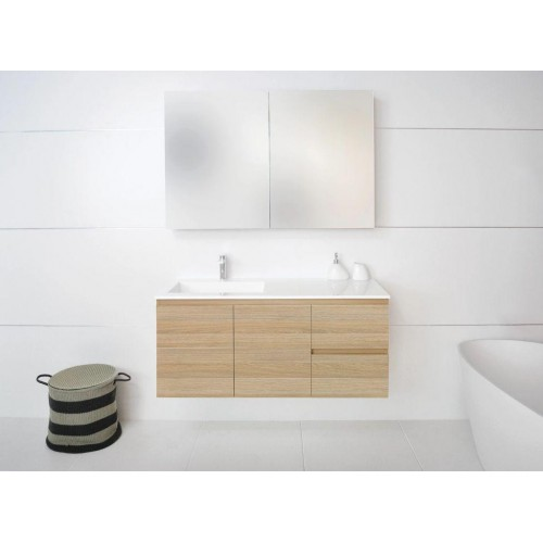 ADP Summer 1200 Twin Drawer Wall Hung Vanity with Offset Bowl