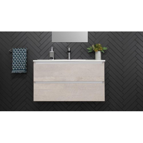 Glacier 900mm All Draw Ensuite Twin Wall Hung Vanity