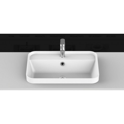 Miya 550mm Solid Surface Inset Basin/Gloss White