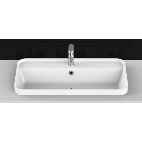 Miya 750mm Solid Surface Inset Basin/Gloss White
