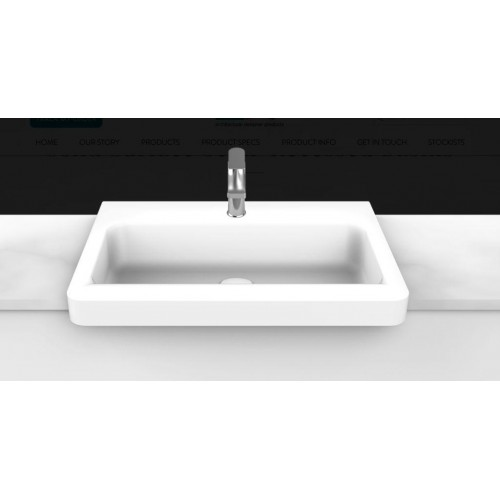 Integrity 545mm Solid Surface Semi Recessed Basin/Gloss White