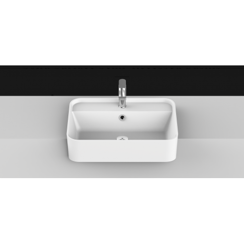 Miya 550mm Solid Surface Semi Recessed Basin/Matte White