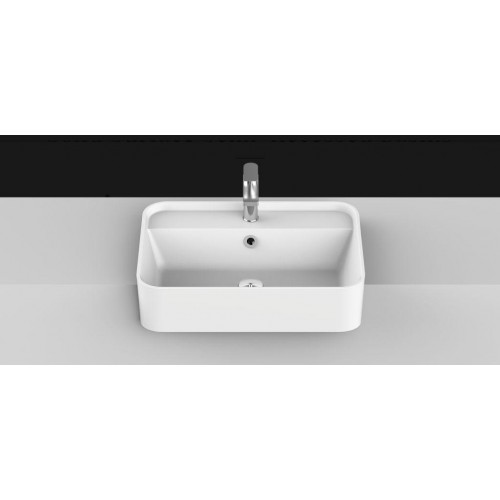 Miya 550mm Solid Surface Semi Recessed Basin/Gloss White