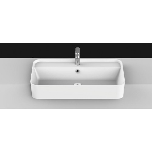 Miya 750mm Solid Surface Semi Recessed Basin/Gloss White