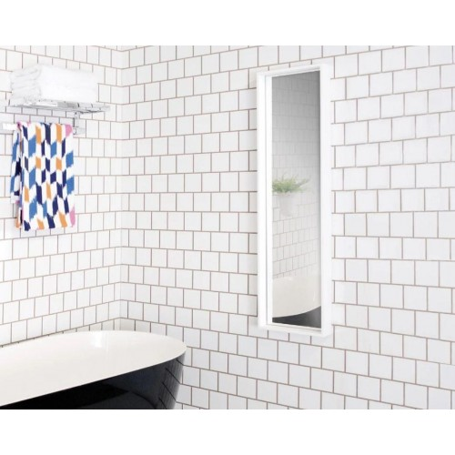 Axis Mirror 300 x 1200mm Bright White' Cherry Pie Premium Solid Surface or Bamboo surround.