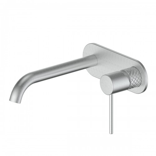Textura Wall Basin Mixer W/plate/Brushed Stainless