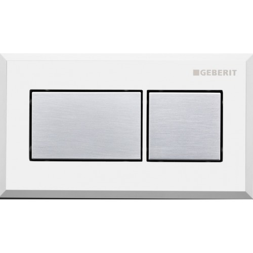 Sigma inwall/under counter square remote/Brushed chrome with white trim