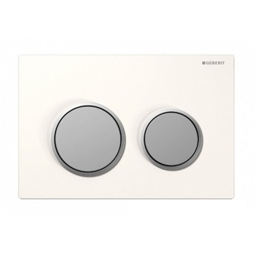 Kappa 21 Dual Flush Botton & Excess Plate/White plate with matt trim and matt buttons